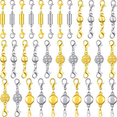 32 Pieces Magnetic Lobster Clasps Magnetic Jewelry Extenders Jewelry Magnet Clasps Magnetic Locking Clasp Round Necklace Clasp Closures Rhinestone Ball Magnetic Clasps for Jewelry Bracelet, 4 Styles