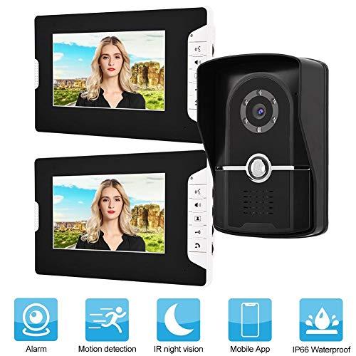 Oyunngs Timbre de Video LCD de 7 Pulgadas, una cámara con Dos monitores, Kit de Timbre de intercomunicador con Cable para videoportero Sistema de Entrada al hogar(Negro)