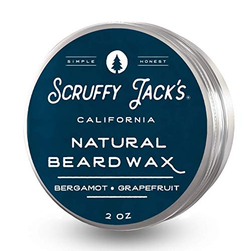 Scruffy Jack's Premium Beard Balm/Wax for Men Grooming Treatment to Strengthen Soften & Promote a Healthy Beard with Natural Ingredients Bergamot Grapefruit - 2oz