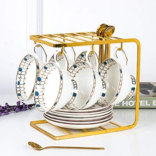 Unbekannt Knochen Porzellan Kaffee Tasse Teller Set Haus Keramik Nachmittag Teetasse Mit Löffel Phnom Penh Tasse Saphir 6 Satz Sendround Gold Schaufel mit Gold U-förmigen Regal