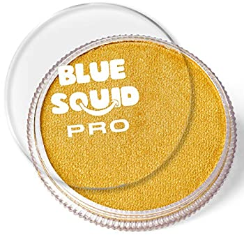 Blue Squid PRO Face Paint - Metallic Gold  30gm  Quality Professional Water Based Single Cake Face & Body Makeup Supplies for Adults Kids & SFX
