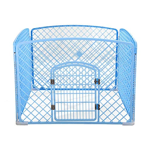 QNMM Box per Cani, Pet Protable Folding Esercizio Pen Dog Dog, 4 Pannelli PP Resin Pet Cage Kennel for Puppy,Blue