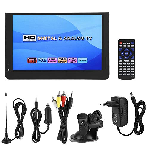 Elprico Digital-TV, tragbarer 12-Zoll-Mini-Fernseher 1080P 16: 9LED-Handheld-Digital-TV-Player DVB-T/T2 für Heimautoflugzeuge