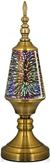 Decorative Turkish Arabian Table Lamp with Handmade 3D Effect Glass and Bronze Base for Bedroom, Bedside, Living Room, Office