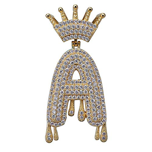 A-Z Custom Name Crown Drip Letters Kettingen & Pendant Chain For Mannen Vrouwen Goud Zilver Kleur kubieke Zirkoon Hip Hop Jewelry Gifts