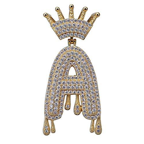 A-Z Custom Name Crown Drip Letters Kettingen & Pendant Chain For Mannen Vrouwen Goud Zilver Kleur kubieke Zirkoon Hip Hop Jewelry Gifts