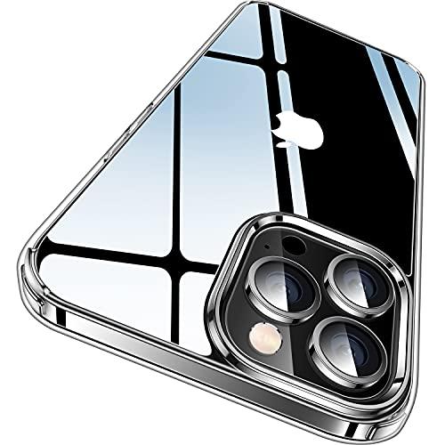 CASEKOO Crystal Clear Kompatibel für iPhone 13 Pro Max Hülle 2021, [Nie Vergilbung] [Unzerstörbarer Militärschutz] Stoßfeste Kratzfeste Schutzhülle DÜNN Transparente Handyhülle 6,7 Zoll- Durchsichtig