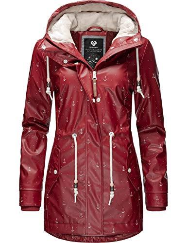 Ragwear Damen Outdoor-Jacke Regenparka Monadis Rainy Black Label Rot Print20 Gr. L
