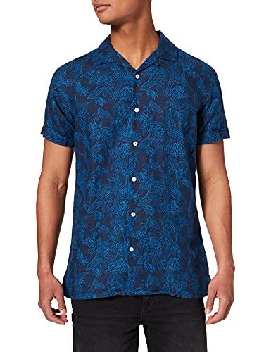 Springfield Lino Bowling Print Camicia, Stampa Blu, XS Uomo
