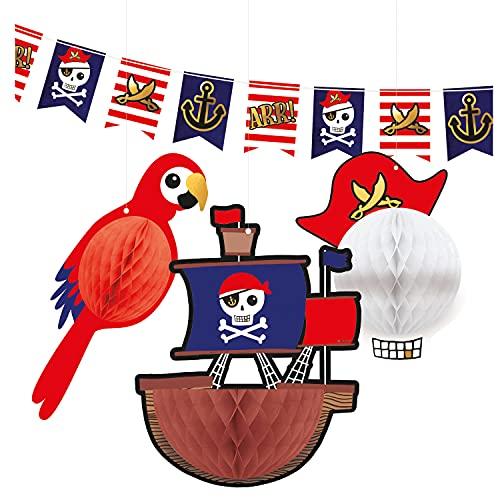 Amscan 9909918 - 4-teiliges Deko-Set Pirat, 1 Flaggen-Banner & 3 Wabendekorationen, Hänge-Dekoration aus Papier, Girlande, Kinder-Geburtstag, Motto-Party