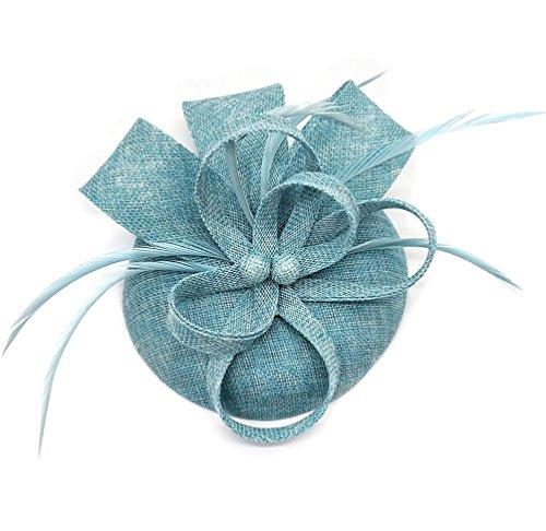 Sinamay Feder-Fascinator, Pillbox-Hut mit Blumen, Derby-Hut für Cocktailpartys, Bälle, Hochzeiten, Kirche, Kränzchen Gr. Einheitsgröße, himmelblau