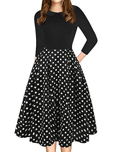 oxiuly Women's Vintage Polka Dot Pockets Casual Dress Chic Doll Collar Patchwork 3/4 Sleeve Work Dress OX303 (XL, BK-Dot7)
