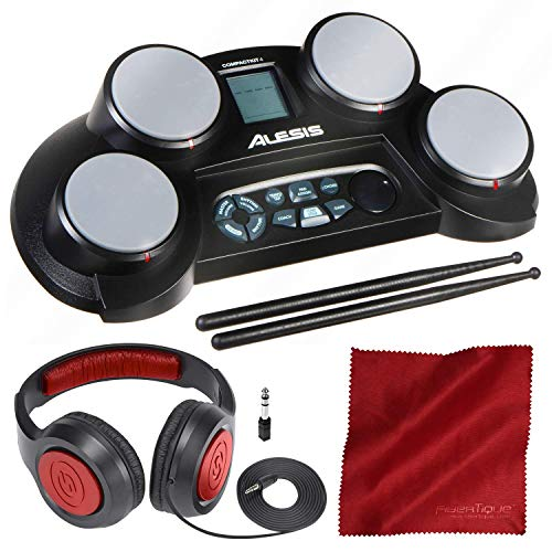 Alesis CompactKit 4 | Portable 4-Pad Tabletop Electronic Drum Kit with Drumsticks and Headphones Bundle