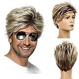 Parrucca Bionda Uomo Baruisi Parrucche da Uomo Anni '80 Stile Sintetica Parrucca