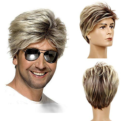 80er Perücke Männer Blond Kurz Glatte Street Perücke Herren Synthetische Haare Perücke Cosplay Halloween Kostüm Party