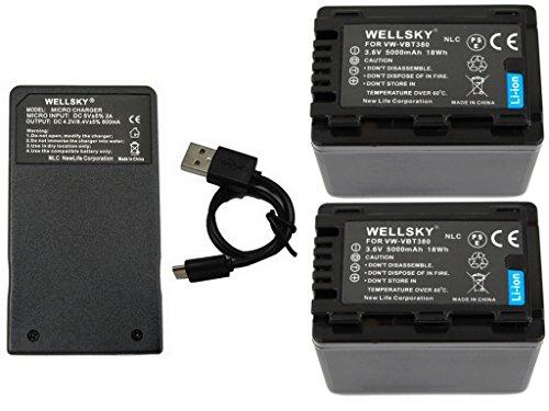 WELLSKY VW-VBT380 VW-VBT380-K 5000mAh 互換バッテリー 2個 & VW-BC10 VW-BC10-K 超軽量 USB Type-C 急速互換充電器 1個 [ 3点セット ] [ 純正品と同じよう使用可能 残量表示可能 ] HC-V210M HC-V230M HC-V330M HC-V360M HC-V480M HC-V520M HC-V550M HC-V620M HC-V720M HC-V750M HC-VX980M HC-W570M HC-W580M HC-W850M HC-W870M HC-WX970M HC-W585M HC-WX990M HC-WXF990M HC-WX995M HC-VX985M HC-WX1M HC-WZX1M HC-VX1M HC-VZX1M HC-WXF1M HC-WZXF1M HC-VX990M HC-VZX990M HC-VX992M HC-VZX992M HC-WX2M HC-WZX2M HC-VX2M HC-VZX2M HC-W590M HC-WZ590M