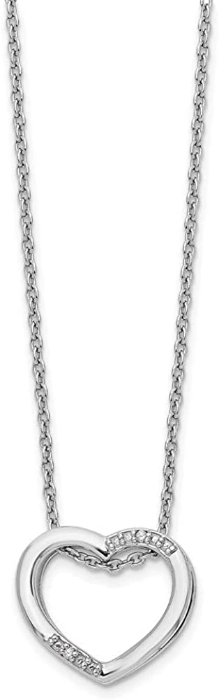 Chain Necklace White Sterling Elegant Silver in Cable 18 Genuine Diamond Themed