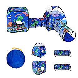 2. TTLOJ 4-Piece Dinosaur Kid's Play Tent with Ball Pit and Tunnels Set