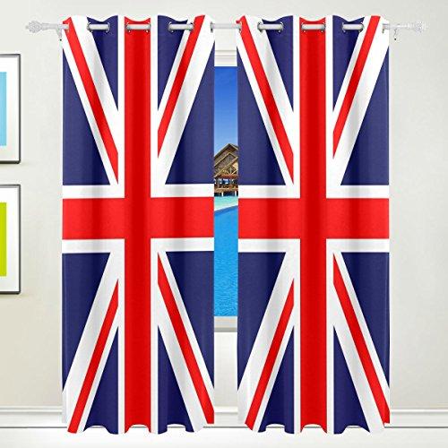 LIANCHENYI Verdunkelungsvorhänge mit Union-Jack-Flagge, mit Ösen, 140 x 213 cm, verdunkelnd, isoliert,...