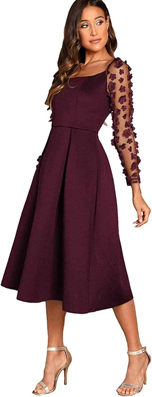 HX fashion Les Femmes Broderie Robe Plissée Maille avec Motif Floral Appliqué Robes Robe De Soirée Ballon Filles De Vêtements Vintage De Mode Bordeaux