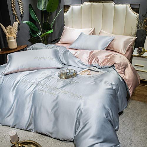 funda nordica cama 90 juveniles,Juego de cuatro piezas de seda europea de verano, seda de hielo de doble cara fresco, seda, cama satinado cama individual, transpirable suave suave y cómodo familia de