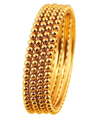 Touchstone Armreif Kollektion Indian Bollywood wunderschön gehämmert Designer Schmuck Armreifen Armbänder für Damen 2.25 Set von 4 Gold