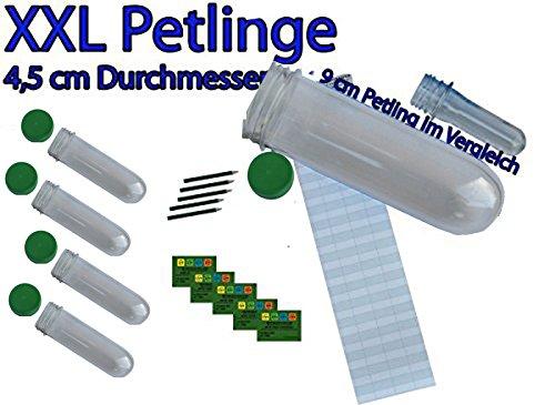 5er Set - XXL Petlinge NEU Vorsicht Farbe GRÜN OPAK (4,5cm x 15 cm) es passen Tauschgegenstände und kleine Coins oder Travelbugs in den Petling mit Logstreifen, Bleistift und Aufkleber