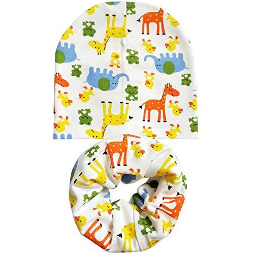 AOXQ Casquette Homme Mode Bébé Chapeau Printemps Et Automne Coton Fille Garçon Chapeau Écharpe Ensemble Hiver Enfants Bonnet Chapeau Enfants Écharpe Bébé Chapeau-Yellow_Animals_for_0_to_3_Years_Old