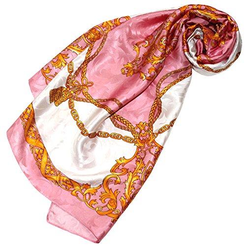 Lorenzo Cana - Luxus Damen Seidentuch Damast 100{7fad612436e1d1e985fd612c7cf9c6905f03468555a02b774df47715e1ad9257} Seide gewebt bedruckt 88 cm x 88 cm opulentes Barock Muster rosa weiss Tuch Halstuch 89178