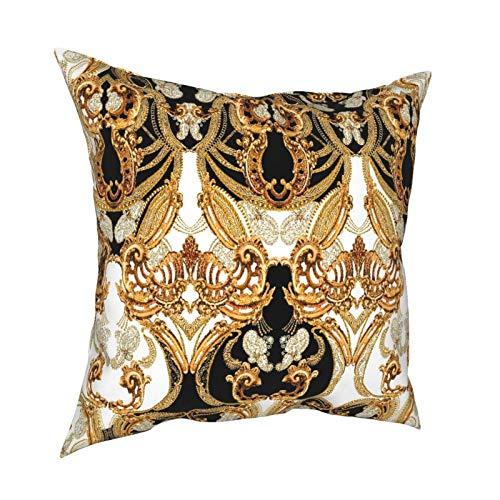 Kgblfd 3D Print Throw Pillow Cover Case,Eamless Baroque Pattern,Modern Pillowcase for Sofa Couch Bed Car Set Home Decor 18'x 18' Pillowcase Cushion Covers Zipper 1pcs