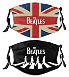 Mens Womens 2Pcs Reusable Face Mask Washable Mouth Cover with 4 Filters Adjustable Strap Balaclava-Walking-across-flag-beatles