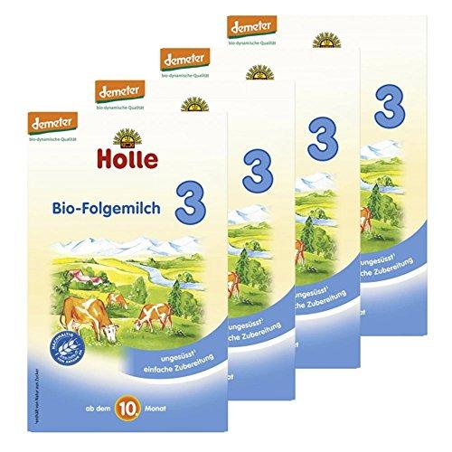 Holle Bio-Folgemilch 3 ab dem 10. Monat, 4er Pack (4 x 600g)