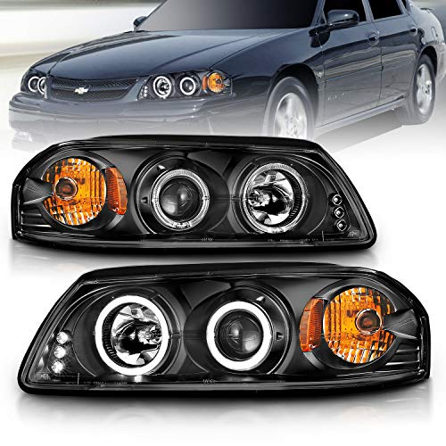 AmeriLite Projector Replacement Headlights LED Halo Black for Chevy Impala - Passenger and Driver Side