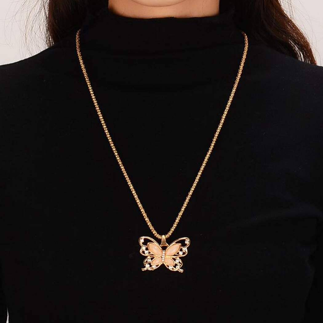 Sttiafay Opal Rhinestone Y-Necklace Long Chain Hollow Butterfly Pendant Necklace Lariat Gold Necklace Jewelry for Women and Teen Girls
