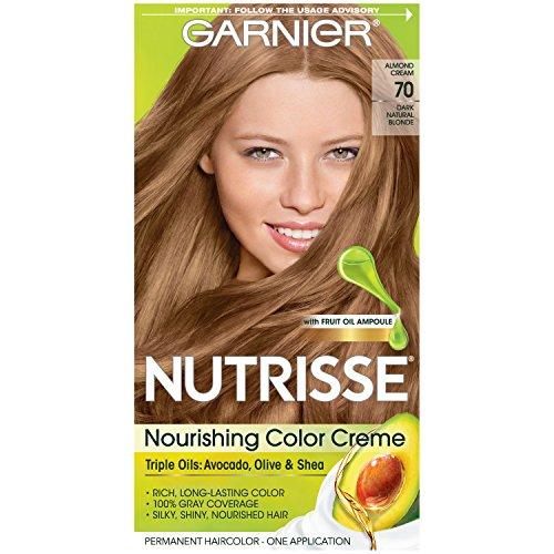 Garnier Nutrisse Nourishing Hair Color Creme, 70 Dark Natural Blonde (Almond Creme) (Packaging May Vary)