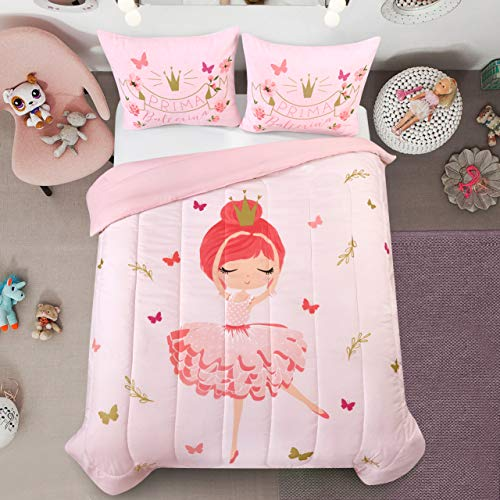 Heritage Kids Prima Ballerina All Season Machine Washable Alternative Pink Ultra Soft Lightweight Microfiber Comforter Set, Twin