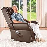 maxVitalis Massagesessel, Fernsehsessel mit Wärmefunktion, Shiatsu-Massage, Elektrische Aufstehfunktion, 5 Massagezonen, intelligenter Körperscan, praktisches Seitenfach (Braun) - 6