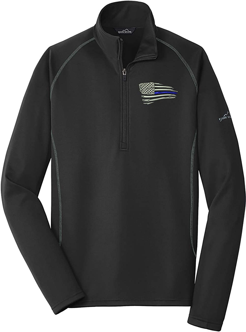 Peerless Distressed American Blue Line Flag Smooth Fleece Base Layer 1/2-Zip EB236