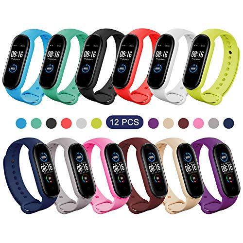 Mijobs Armband für Mi Band 5 Farben, weiches Silikon, Band und Schutz, Ersatz-Armband für Xiaomi Mi Band 5 (ohne Hot), 12Sets