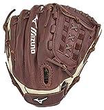 Mizuno GFN1250S3 Franchise Series Slowpitch Softball Gloves, 12.5', Right Hand Throw, Coffee/Silver Tartan X Web