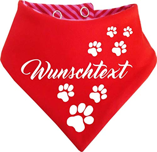 KLEINER FRATZ gestreiftes Hunde Wende- Halstuch (Fb: rot-Fuchsia/rot) (Gr.2 - HU 31-35 cm) mit Ihrem Wunschtext