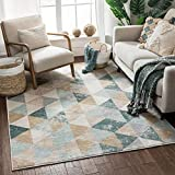 Well Woven Melody Mint Blue Geometric Tile Modern 5x7 (5'3' x 7'3') Area Rug Mint Blue Triangles Isometry Marble Distress Contemporary Carpet