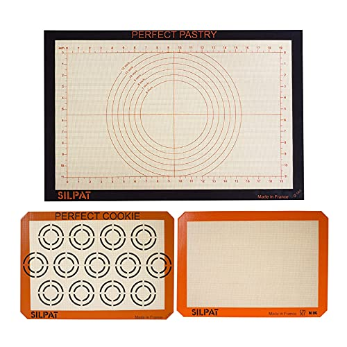 Silpat Non-Stick Silicone Workstation and Baking Mat Bundle (Set of 3, 15-1/8 x 23 Inch, 11-5/8 x 16-1/2 Inch, 11.6 x 16.5 Inch) (3 Items)