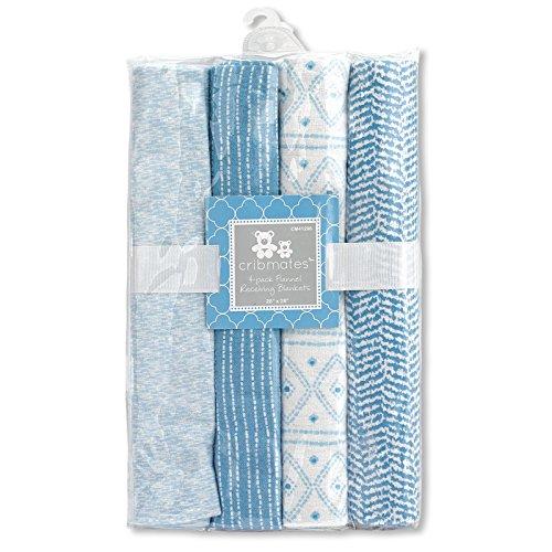 Regent Baby 4 Piece Receiving Blanket, Blue/White