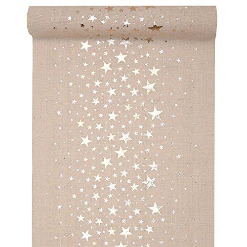 Tischläufer Natur mit Sternen Metallic 28 cm x 3 m - Weihnachten Tischdekoration