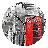 ISAOA Reloj de Pared Moderno de 9.5 Pulgadas, silencioso y sin tictac, cabinas telefónicas inglesas con Big Ben en Londres, Reloj Redondo de Escritorio para recámaras, niños, Sala de Estar, Cocina