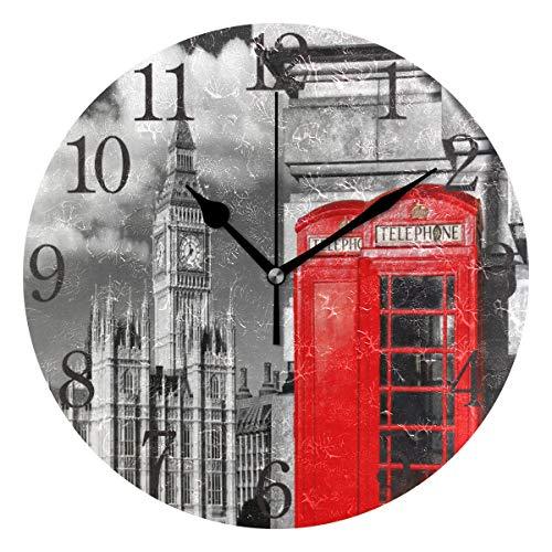 ISAOA Reloj de pared moderno de 9,5 pulgadas, silencioso, 1 cabina de teléfono rojo inglés con Big Ben en Londres, reloj de escritorio redondo para dormitorios, niños, sala de estar, cocina