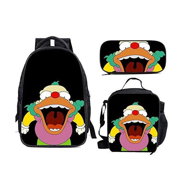 51Ktga5j4gL. SS600  - The Si-mps-ons - Juego de mochila escolar con bolsas de almuerzo y estuche ligero para viaje para niños y niñas