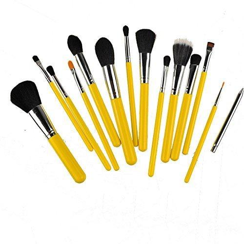 Kolight?15pcs Fashion Cosmetic Foundation Blending Blush Eyeliner Face Powder Makeup Brush Set (Yellow+Silver) by Kolight
