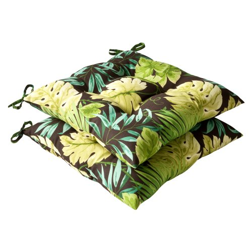 Pillow Perfect Indoor/Outdoor Tropical Tufted Seat Cushion, Green/Brown